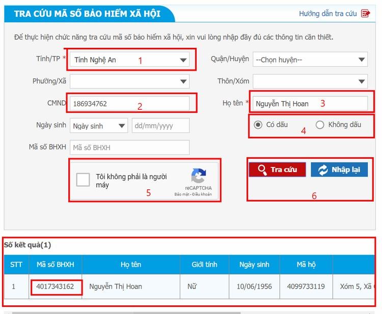 Các bước tra cứu mã số bhxh, số sổ bảo hiểm xã hội trên baohiemxahoi.gov.vn, Các bạn nhập các thông tin bắt buộc như: Tỉnh/TP, Họ tên và Số CMTND ( Số chứng minh nhân dân) Sau đó nhập Mã xác thực rồi nhấn nút Tra Cứu
