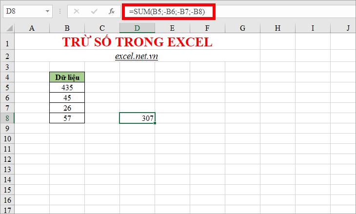 Sử dụng hàm SUM để trừ trong Excel