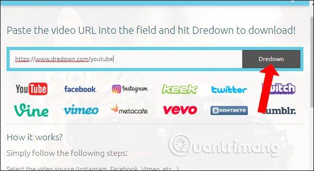 Dán URL video YouTube trên Dredown