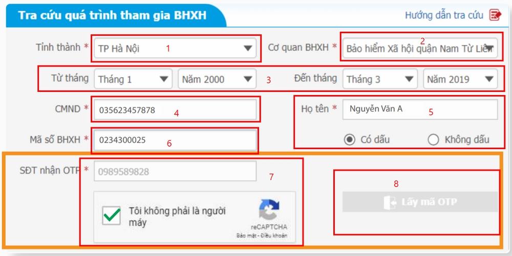 Form tra cứu quá trình tham gia BHXH