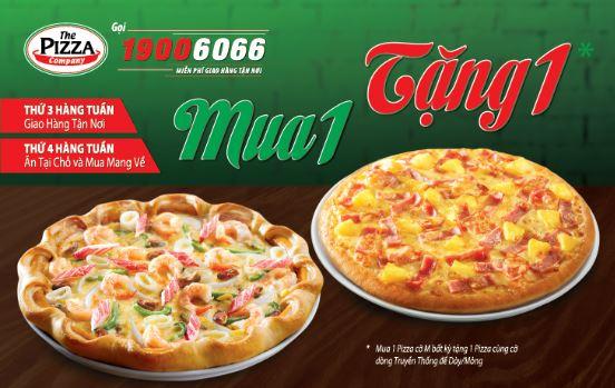 Pizza mua 1 tặng 1