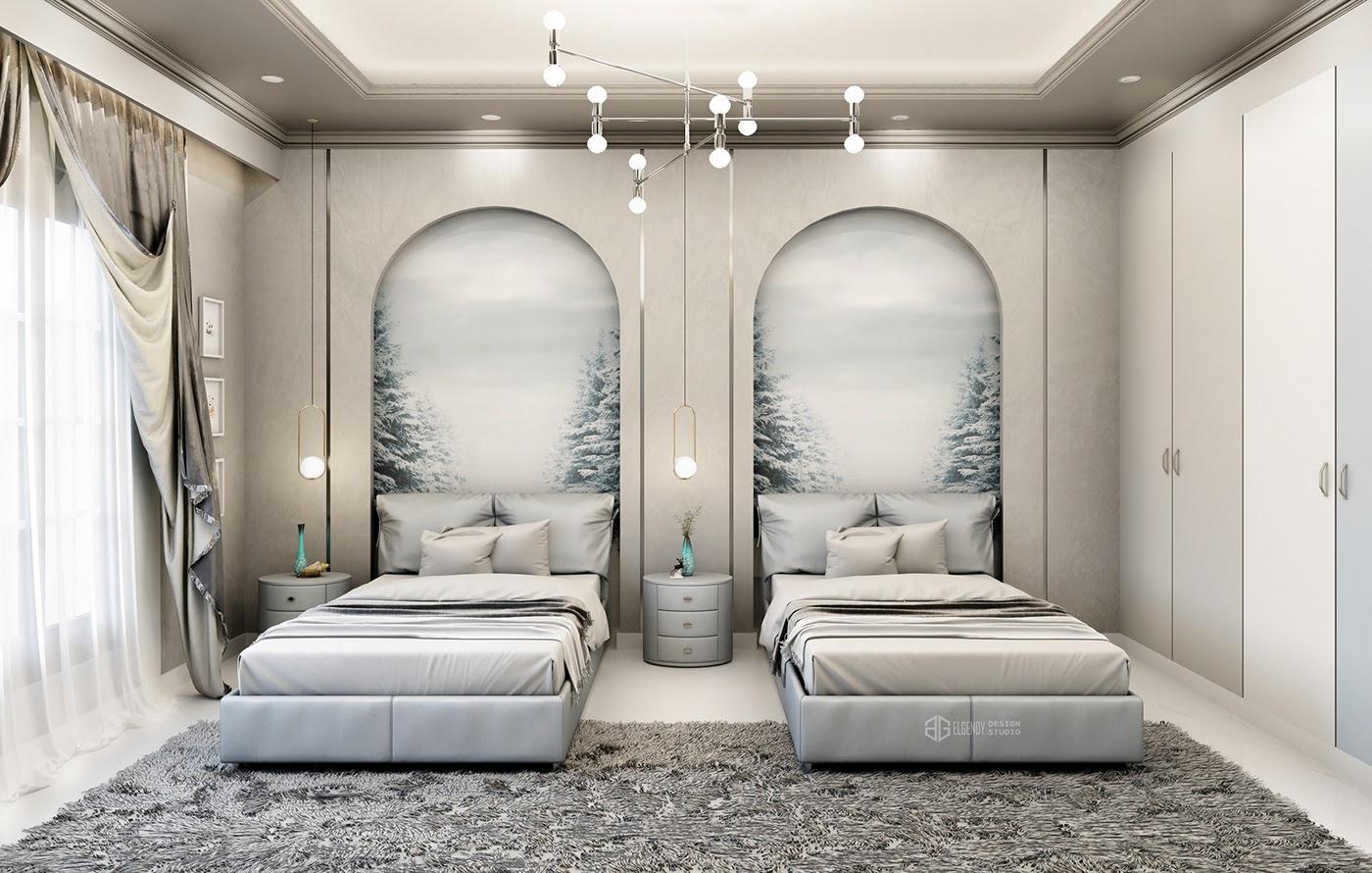 Bố trí phòng ngủ 2 giường cho người lớn với không gian đồng bộ