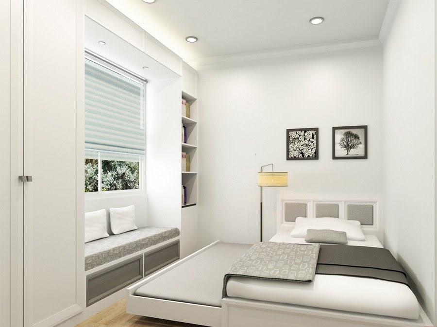 Phòng ngủ nhỏ với giường ngủ kéo 2 tầng thông minh