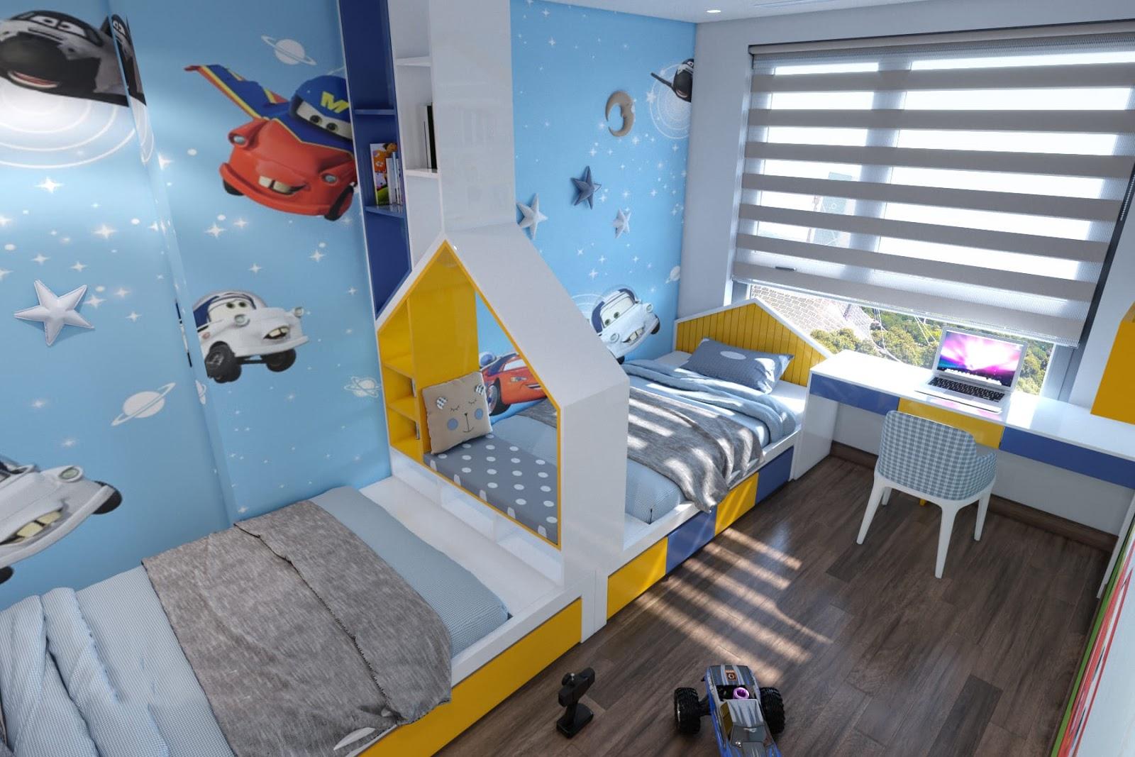 Bố trí giường ngủ thẳng hàng cho phòng ngủ bé